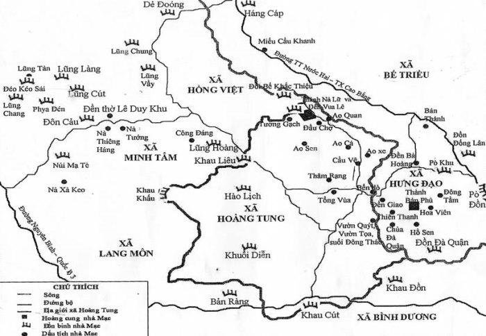 Sơ đồ khu trung tâm của nhà Mạc ở Cao Bằng vùng Cao Bình – Nà Lữ. (Ảnh qua baocaobang.vn)