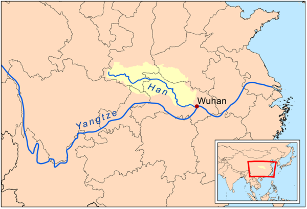 Bản đồ lưu vực sông Hán Thủy. Ảnh dẫn từ wikipedia.org