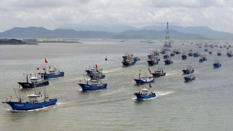 Thuyền cá Trung Quốc đi từ cảng Shenjiamen ở Chiết Giang. (Ảnh: Xinhua)