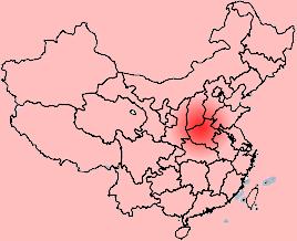Địa danh Trong Nguồn xưa kia chính là Trung Nguyên ngày nay – (được tô màu đỏ trên bản đồ Trung Quốc). Ảnh wikipedia.org