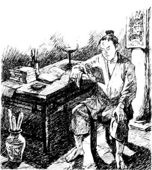 """Dùi mài kinh sử. (Tranh minh họa qua Ybook.vn, sách """"Lịch sử Việt Nam bằng tranh"""")"""