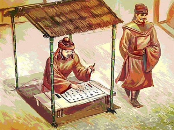 Một tú tài đang làm bài thi trong ngày thi Hương thời xưa. (Ảnh ngheandost.gov.vn)