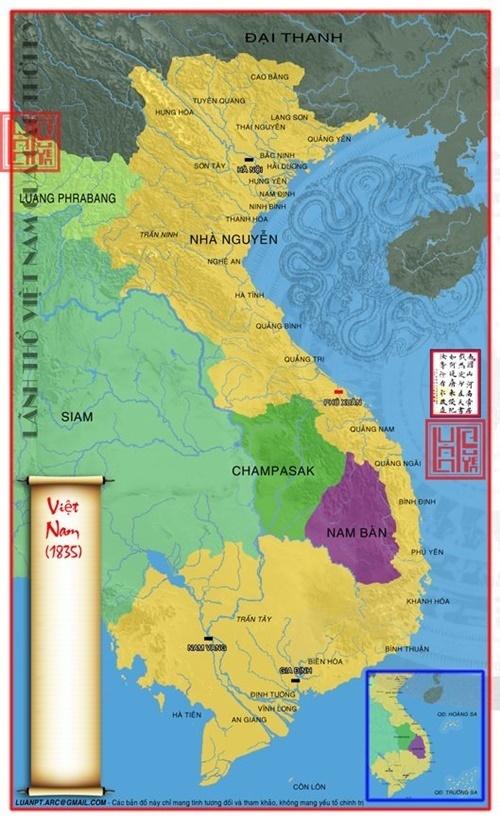 Bản đồ Việt Nam năm 1835 sau khi sáp nhập các vùng đất của Ai Lao và Campuchia
