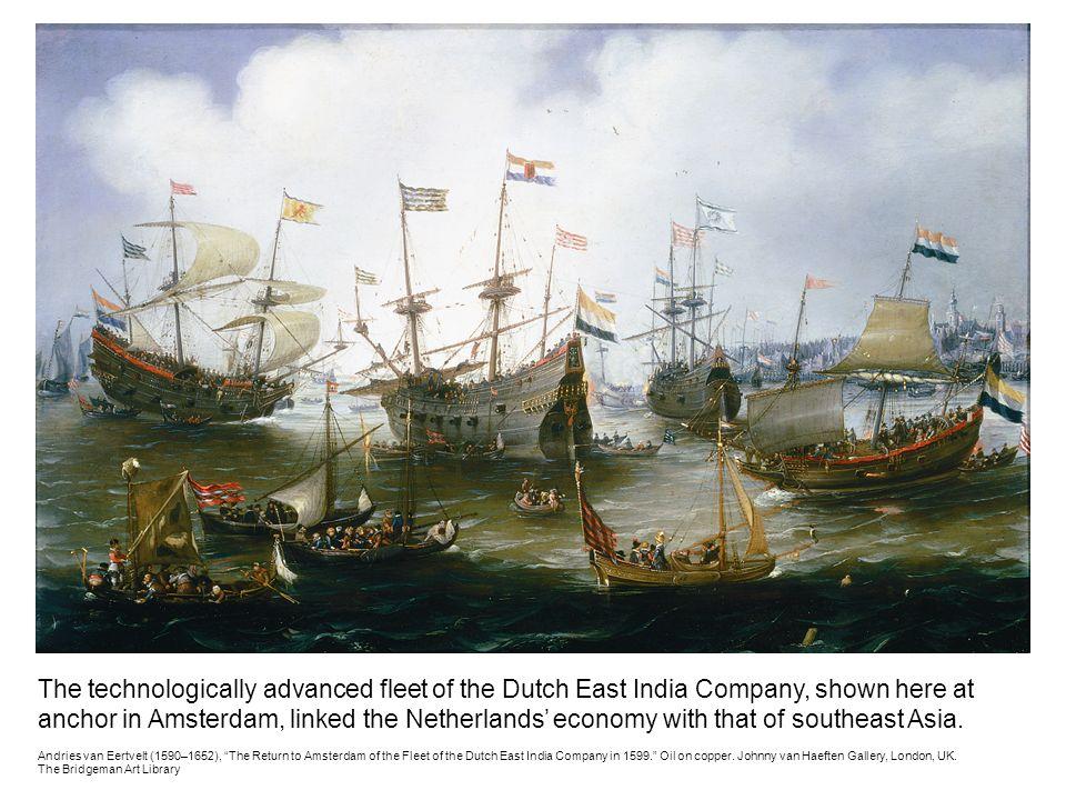 Hạm đội Công ty Đông Ấn Hà Lan, nhiều trọng pháo được đặt thành hàng bên hông tàu. (Tranh của Jonhnny Van Haeften)