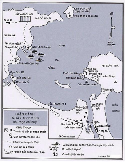 Trận đánh pháo đài Định Hải và đồn Chơn Sảng. (Ảnh từ lịch sử Đà Nẵng)