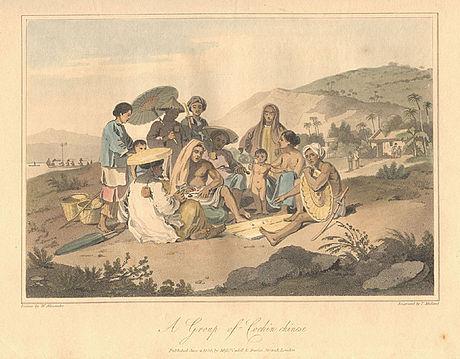 Một nhóm người Đàng Trong tại Đà Nẵng thời Tây Sơn. (Tranh của họa sĩ người Anh William Alexander)
