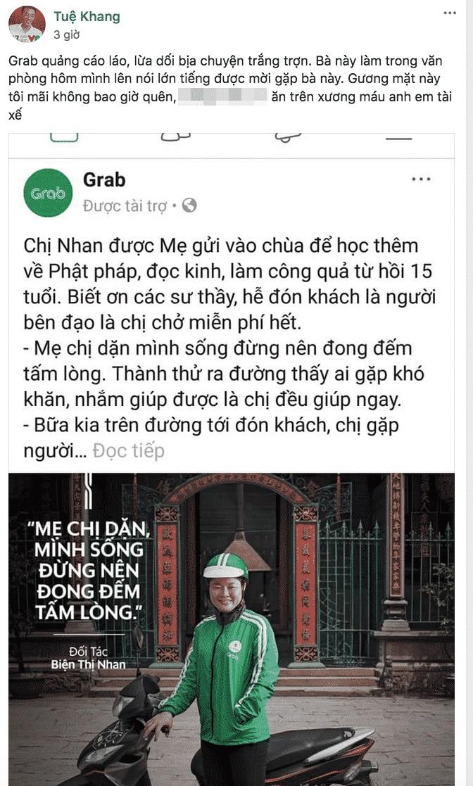 Bài PR của Grab bị tố là giả mạo (Ảnh chụp màn hình Facebook)