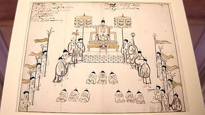 Tranh của Samuel Baron vẽ cảnh thiết triều thời Lê Trung Hưng. (Ảnh từ wikipedia.org)