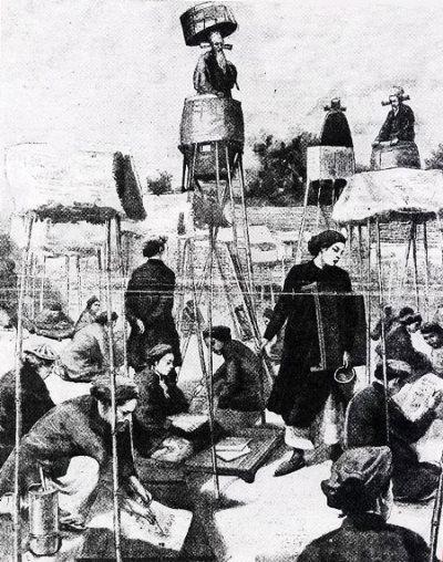 Cảnh trong trường thi thời xưa. (Tranh từ hinhanhvietnam.com)