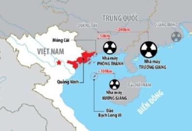 3 nhà máy điện hạt nhân Trung Quốc ngay sát biên giới Việt Nam. (Ảnh: Bộ KH&CN)