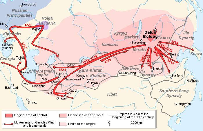 Bản đồ thể hiện những cuộc chiến mà đích thân Thành Cát Tư Hãn tham gia. (Ảnh từ wikipedia.org)