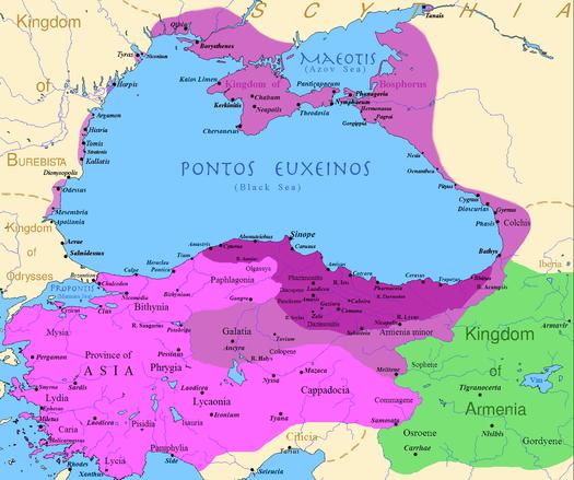 Bản đồ vương quốc Pontus: Trước khi vua Mithridates VI chinh phục (màu tím đậm), sau các cuộc chinh phục cỉa ông (màu hồng). (Ảnh từ wikipedia.org)