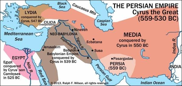 Lãnh thổ đế quốc Ba Tư, phần màu Nâu đỏ phía bên phải, nâu vàng phía bên trái và nâu xám phía bên trái là phần lãnh thổ dưới thời Cyrus Đại Đế. Phần lãnh thổ màu hồng bên trái phía dưới là do con trai của Cyrus thu phục vào năm 525 TCN. (Tranh qua Wikipedia)