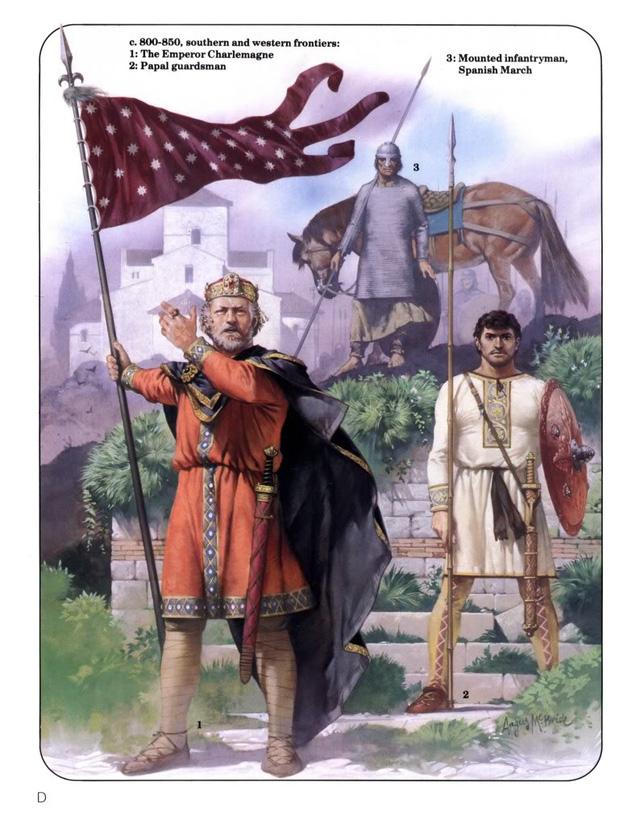 Tranh vẽ Hoàng Đế Karl mặc trang phục La Mã, phất cờ Đế chế về phía Tây để bình định vùng đất Hispanic của người Moor.