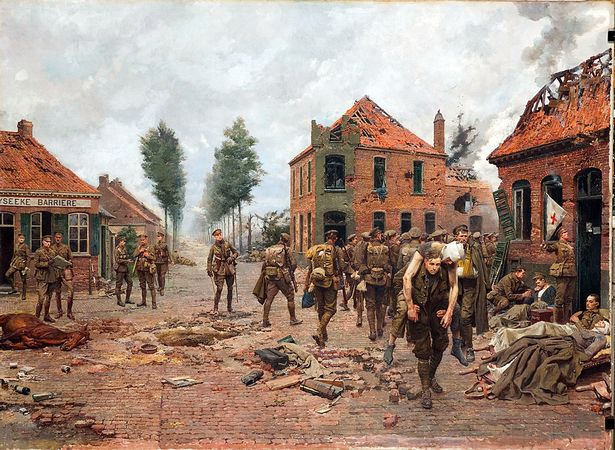 Bức tranh Nghệ sĩ người Ý Fortunino Matania vẽ lạ cảnh Tandey giúp một người lính bị thương. (Ảnh từ bảo tàng Green Howards Museum)