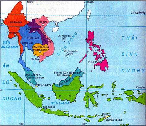 Bản đồ Đông Nam á ngày nay. (Ảnh từ vforum.vn)