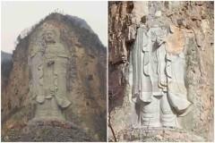 Tháng 2/2019, Trung Quốc cho nổ một tượng Phật Quan Âm cao gần 60m trên vách núi hậu điện chùa Hoàng An, Hà Bắc, Trung Quốc, không muốn dân chúng phục dựng lại, Trung Quốc còn cho nổ thêm một lần nữa nhằm hủy hoàn toàn bức tượng (Ảnh: NTDTV)