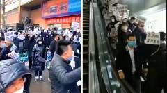 Gần đây, một làn sóng phản đối của các thương gia đã nổ ra ở Đông Bắc và Quảng Châu, yêu cầu đòi trả lại tiền thuê và giảm tiền thuê. (Ảnh chụp video)