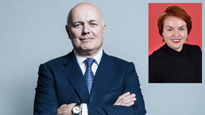 Cựu lãnh đạo Đảng Bảo thủ Anh Iain Duncan Smith (trái) và Kimberley Kitching – Chủ tịch Ủy ban Quốc phòng và Thương mại Thượng viện (phải). (Ảnh /Trang web chính thức của  IPAC)