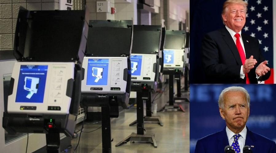Các thiết bị bỏ phiếu nhanh tại một điểm bỏ phiếu được thiết lập tại Capital One Arena cho cuộc tổng tuyển cử năm 2020 sắp tới. (Ảnh qua New York Post)